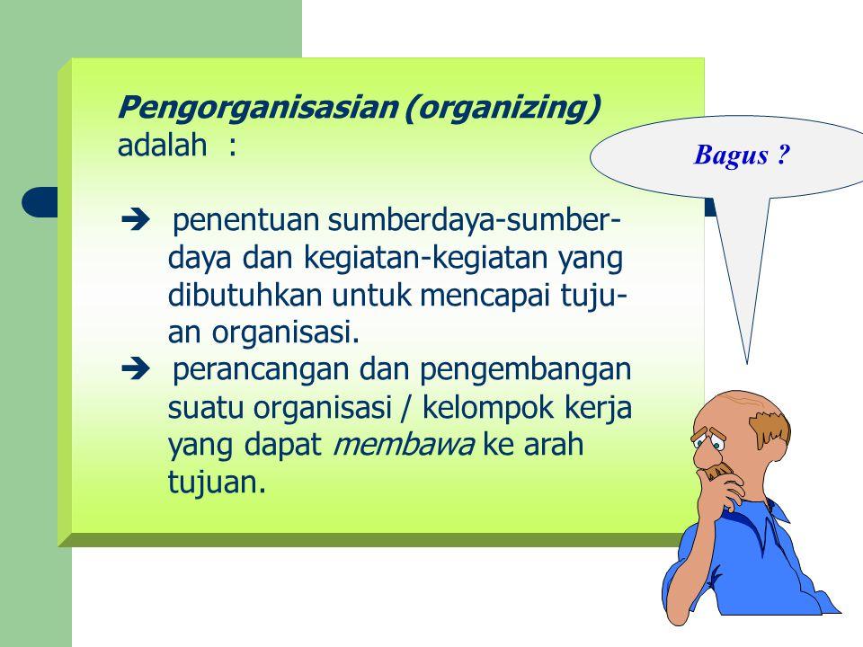 Pengorganisasian (organizing) adalah :  penentuan sumberdaya-sumber-