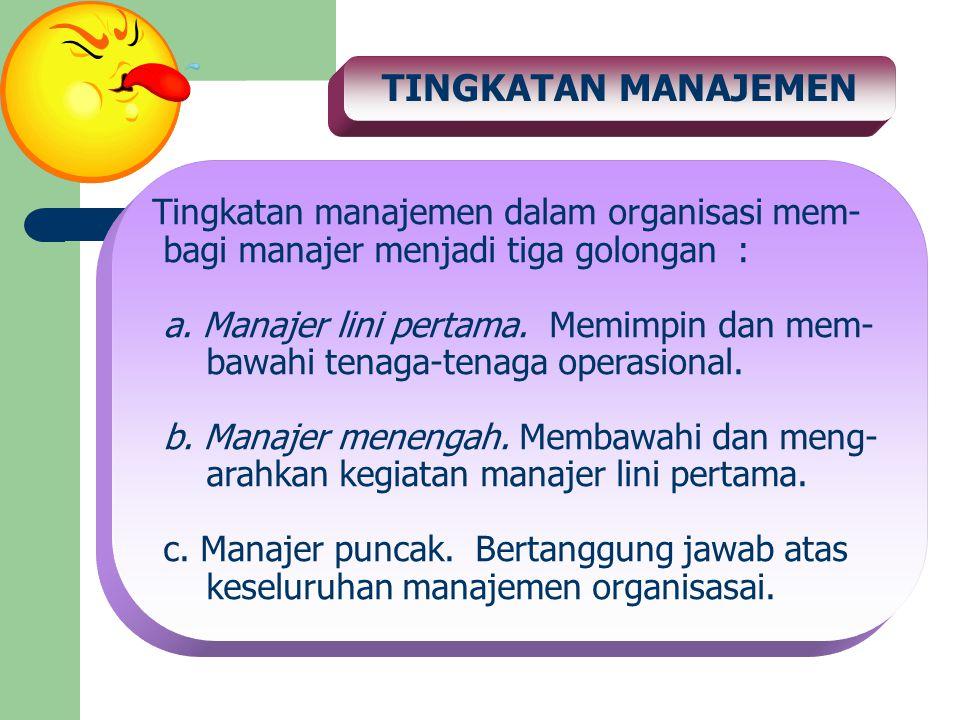 TINGKATAN MANAJEMEN Tingkatan manajemen dalam organisasi mem-