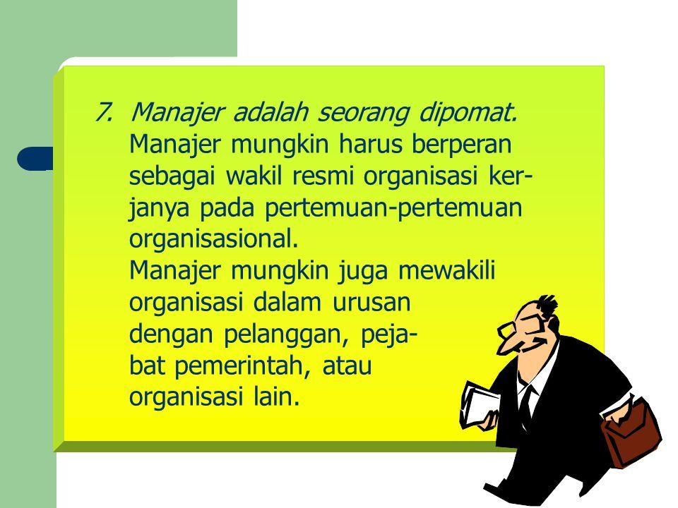 Manajer mungkin harus berperan sebagai wakil resmi organisasi ker-