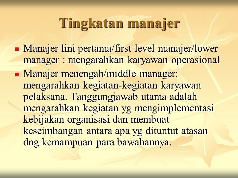 Tingkatan manajer Manajer lini pertama/first level manajer/lower manager : mengarahkan karyawan operasional.
