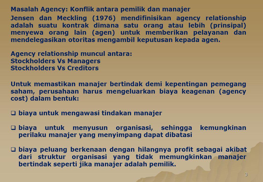 Masalah Agency: Konflik antara pemilik dan manajer