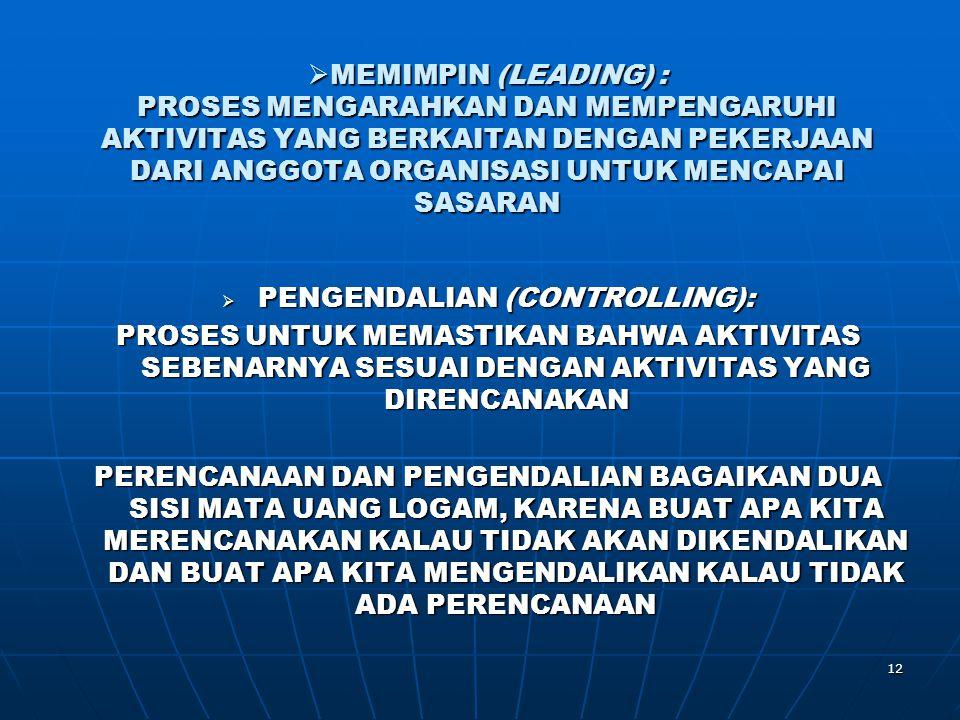 PENGENDALIAN (CONTROLLING):