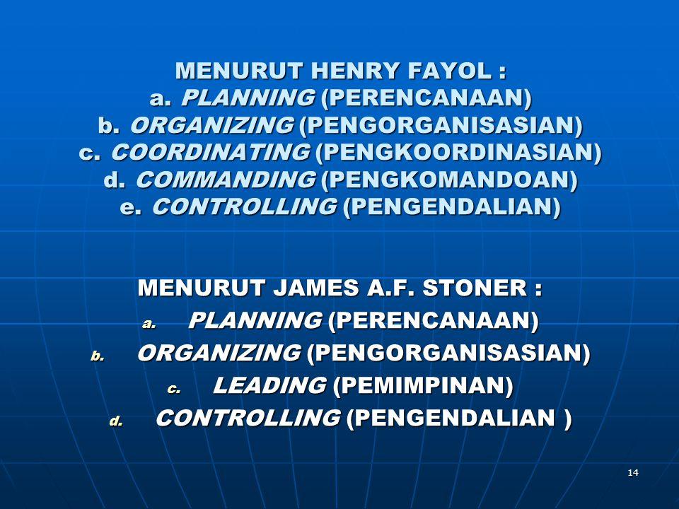 MENURUT JAMES A.F. STONER : PLANNING (PERENCANAAN)