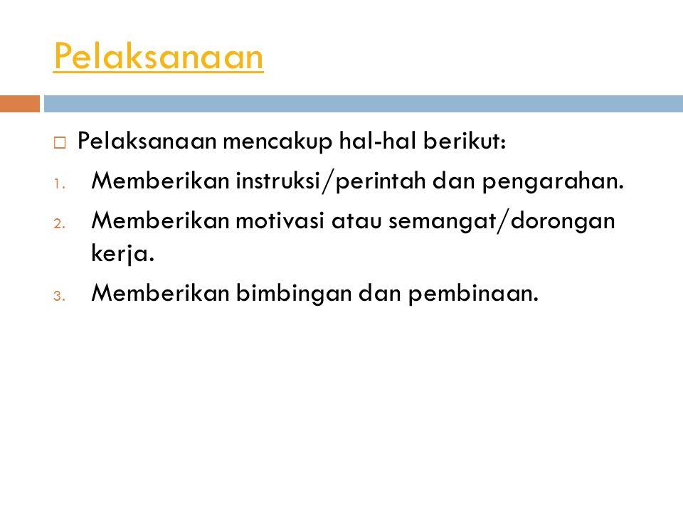 Pelaksanaan Pelaksanaan mencakup hal-hal berikut: