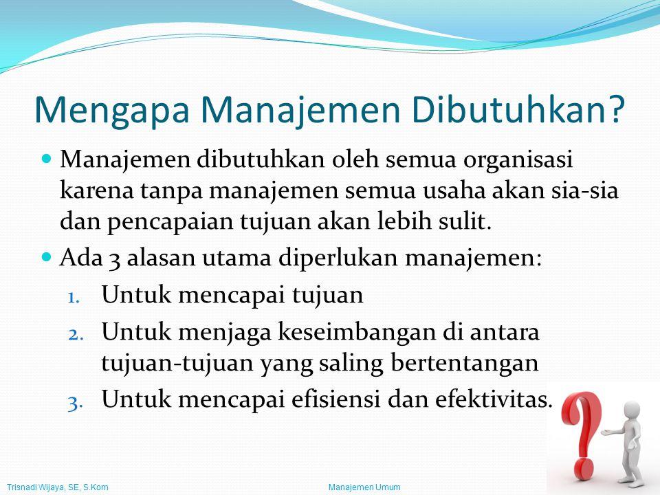 Mengapa Manajemen Dibutuhkan