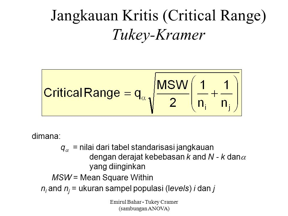 Jangkauan Kritis (Critical Range) Tukey-Kramer