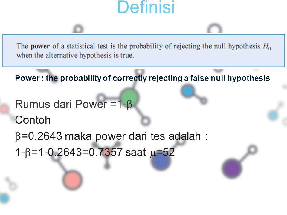 Definisi Rumus dari Power =1- Contoh