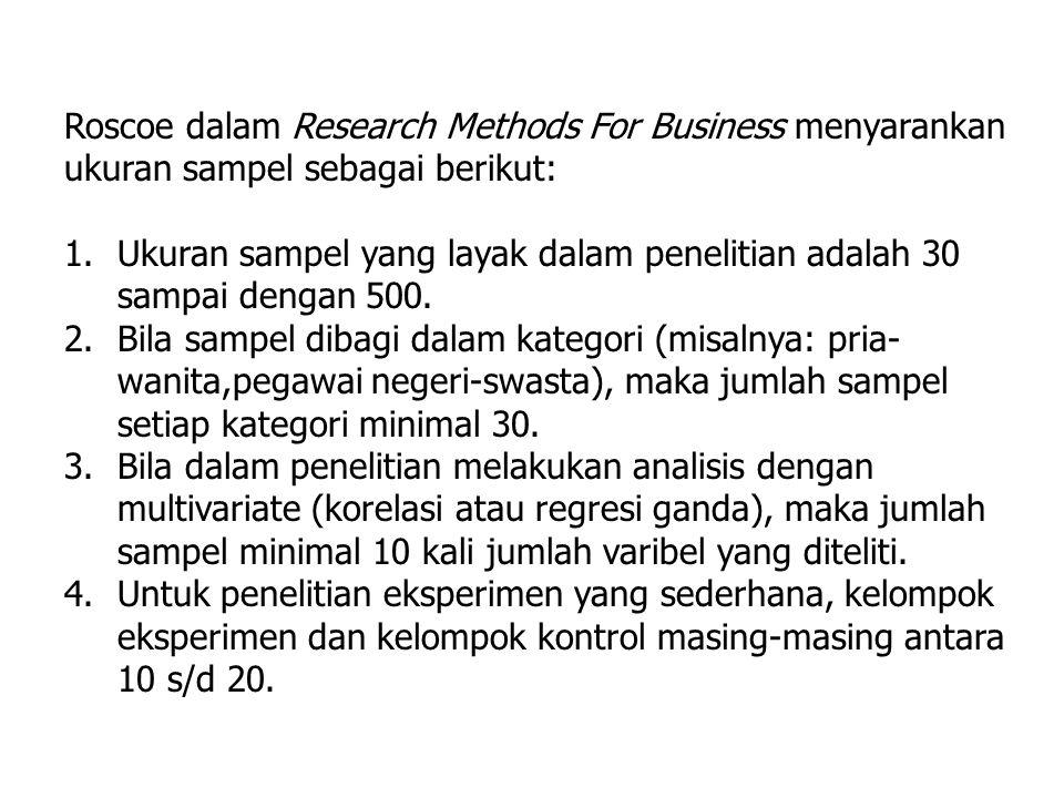 Roscoe dalam Research Methods For Business menyarankan ukuran sampel sebagai berikut:
