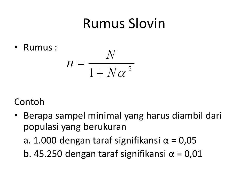 Rumus Slovin Rumus : Contoh