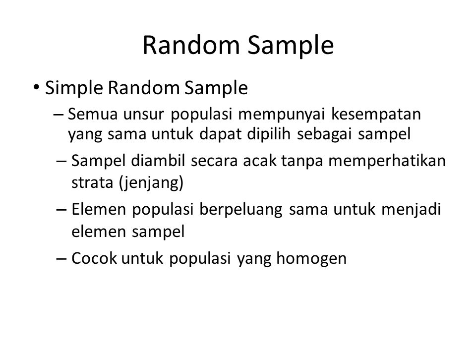 Random Sample Simple Random Sample