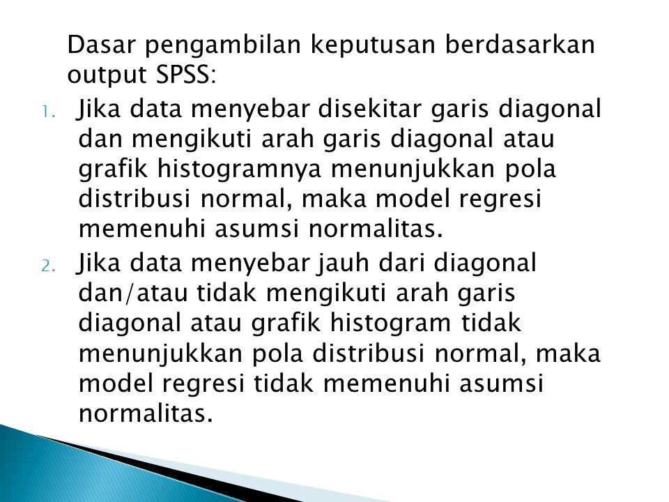 Dasar pengambilan keputusan berdasarkan output SPSS: