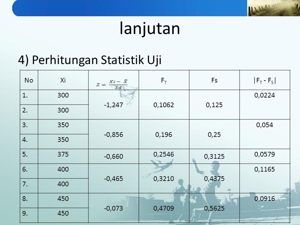 lanjutan 4) Perhitungan Statistik Uji No Xi FT Fs |FT - FS| 1. 300