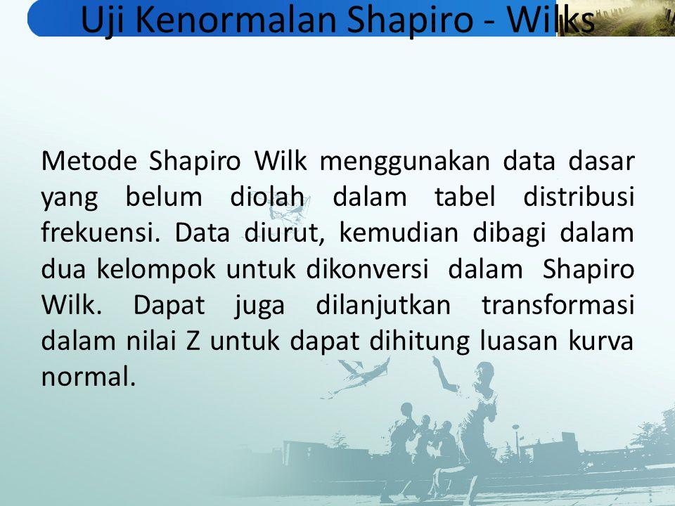 Uji Kenormalan Shapiro - Wilks