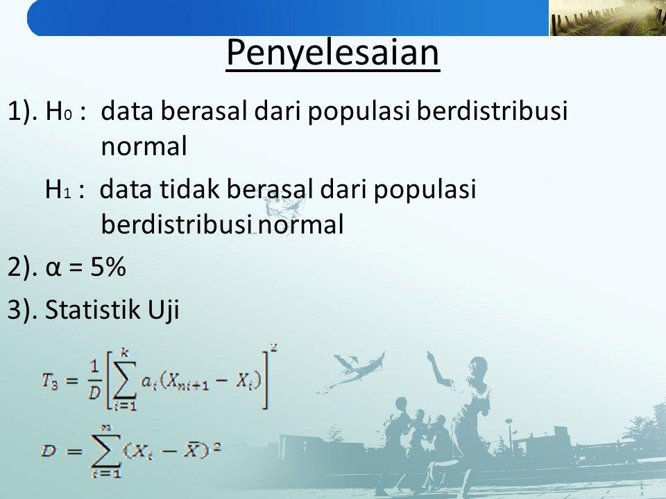 Penyelesaian 1). H0 : data berasal dari populasi berdistribusi normal