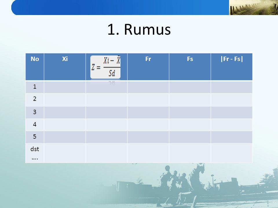 1. Rumus No Xi Fr Fs |Fr - Fs| 1 2 3 4 5 dst….