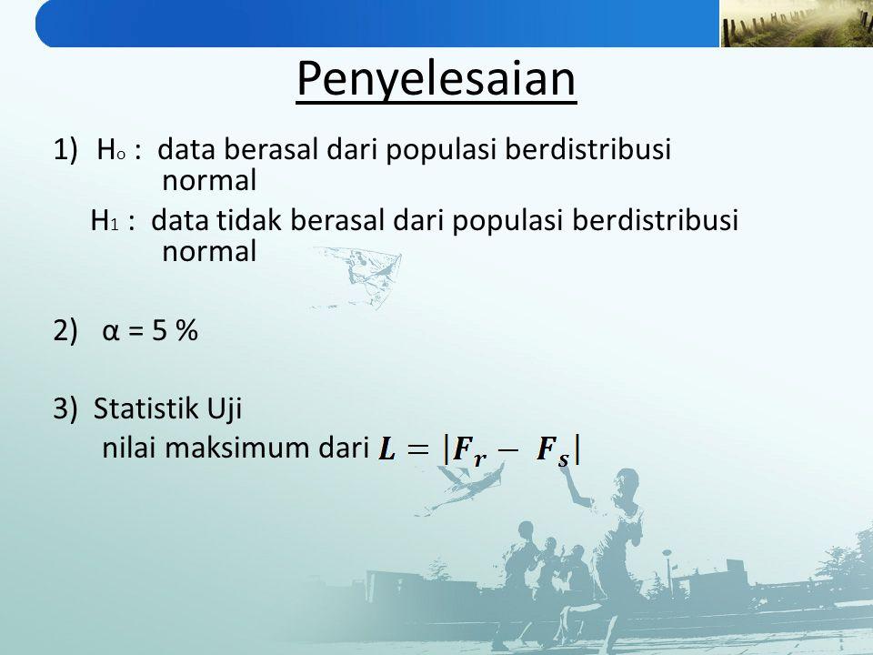 Penyelesaian Ho : data berasal dari populasi berdistribusi normal