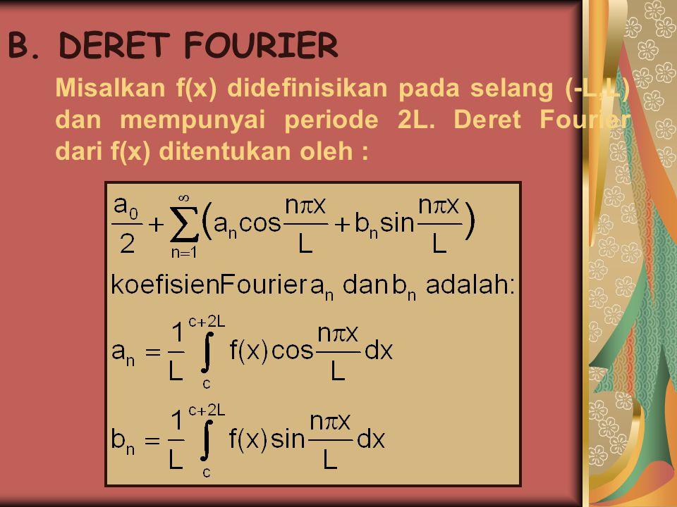 B. DERET FOURIER Misalkan f(x) didefinisikan pada selang (-L,L) dan mempunyai periode 2L.