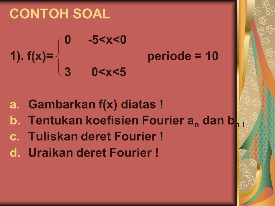 CONTOH SOAL 0 -5<x<0 1). f(x)= periode = 10 3 0<x<5
