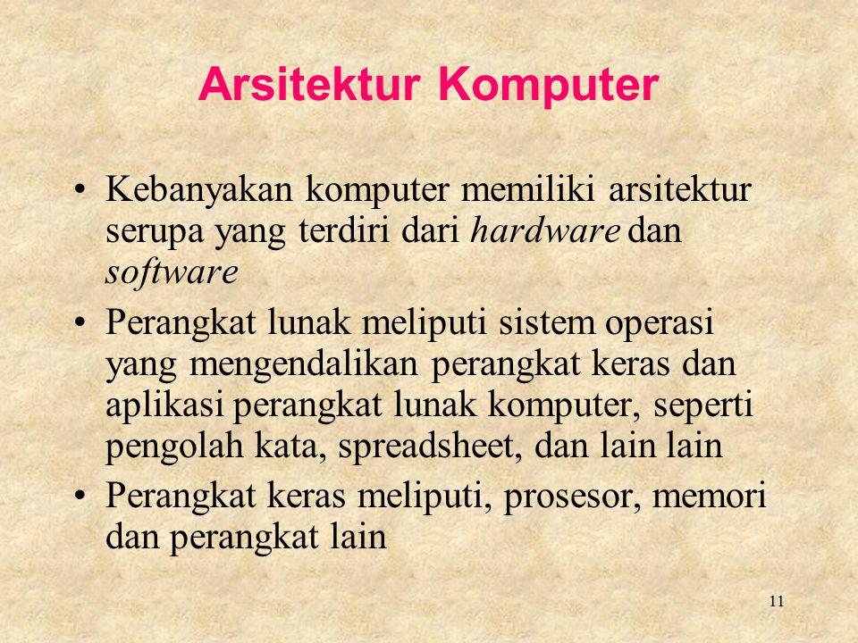 Arsitektur Komputer Kebanyakan komputer memiliki arsitektur serupa yang terdiri dari hardware dan software.
