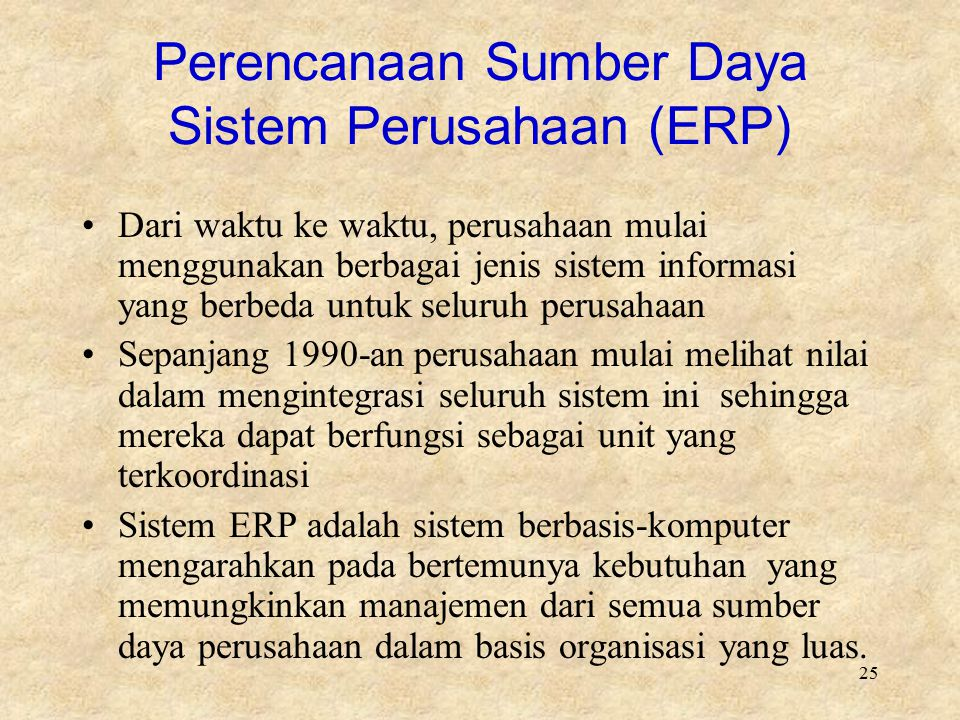Perencanaan Sumber Daya Sistem Perusahaan (ERP)