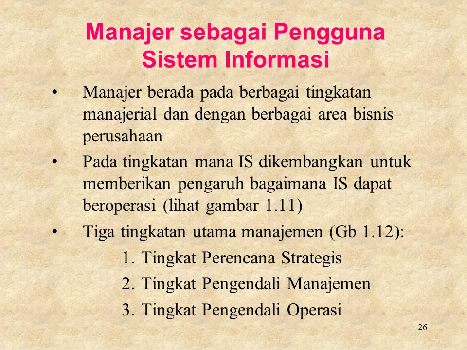 Manajer sebagai Pengguna Sistem Informasi