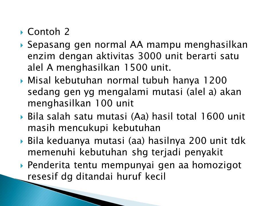 Contoh 2 Sepasang gen normal AA mampu menghasilkan enzim dengan aktivitas 3000 unit berarti satu alel A menghasilkan 1500 unit.