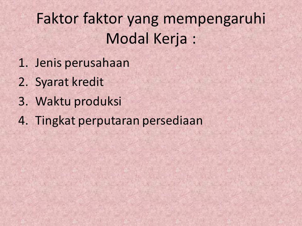 Faktor faktor yang mempengaruhi Modal Kerja :