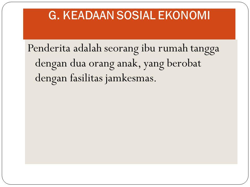 G. KEADAAN SOSIAL EKONOMI
