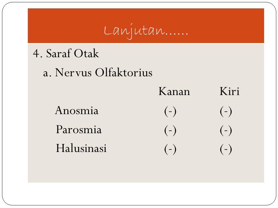 Lanjutan…… a. Nervus Olfaktorius Kanan Kiri Anosmia (-) (-)