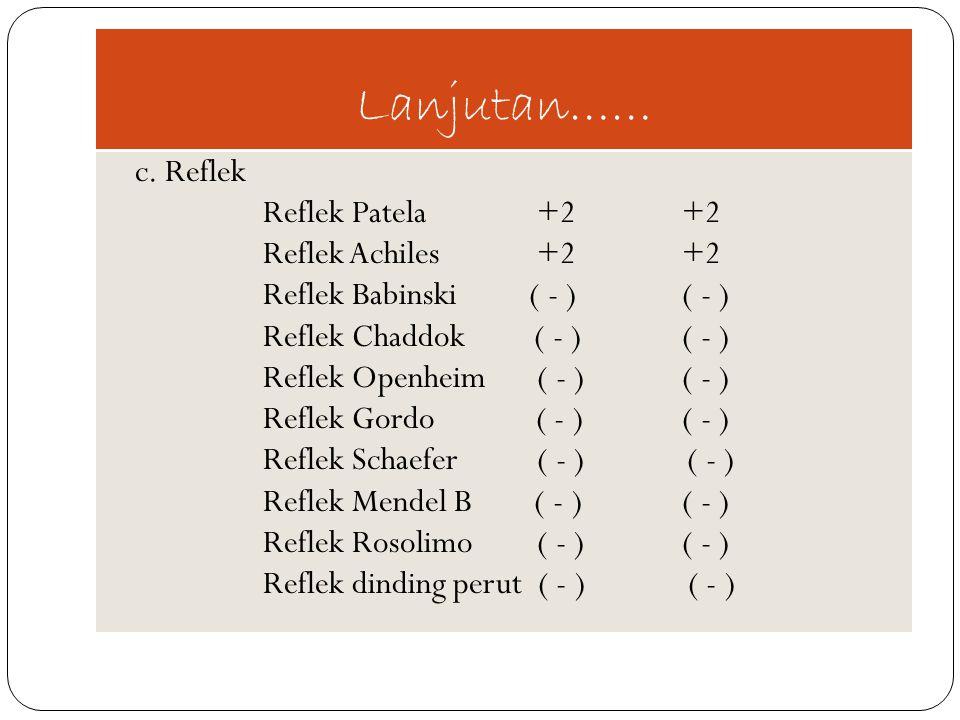 Lanjutan…… c. Reflek Reflek Patela +2 +2 Reflek Achiles +2 +2