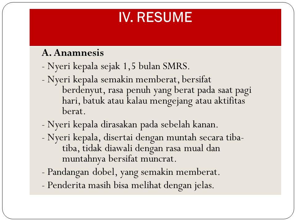 IV. RESUME