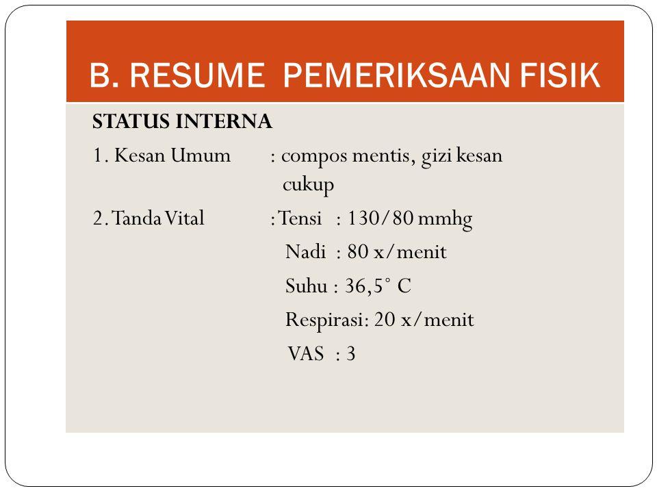 B. RESUME PEMERIKSAAN FISIK