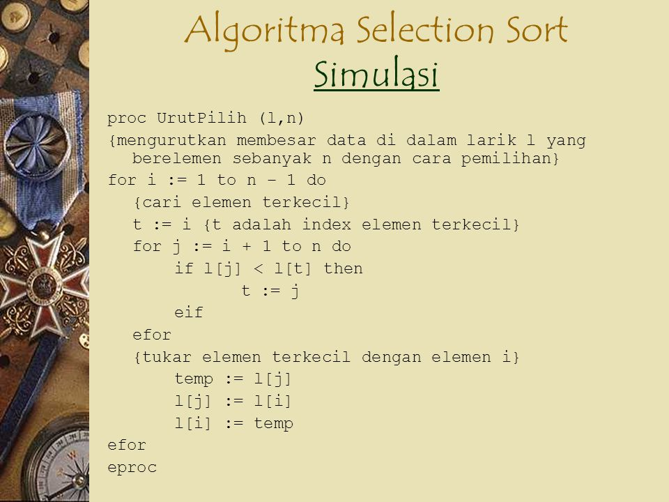 Algoritma Selection Sort Simulasi