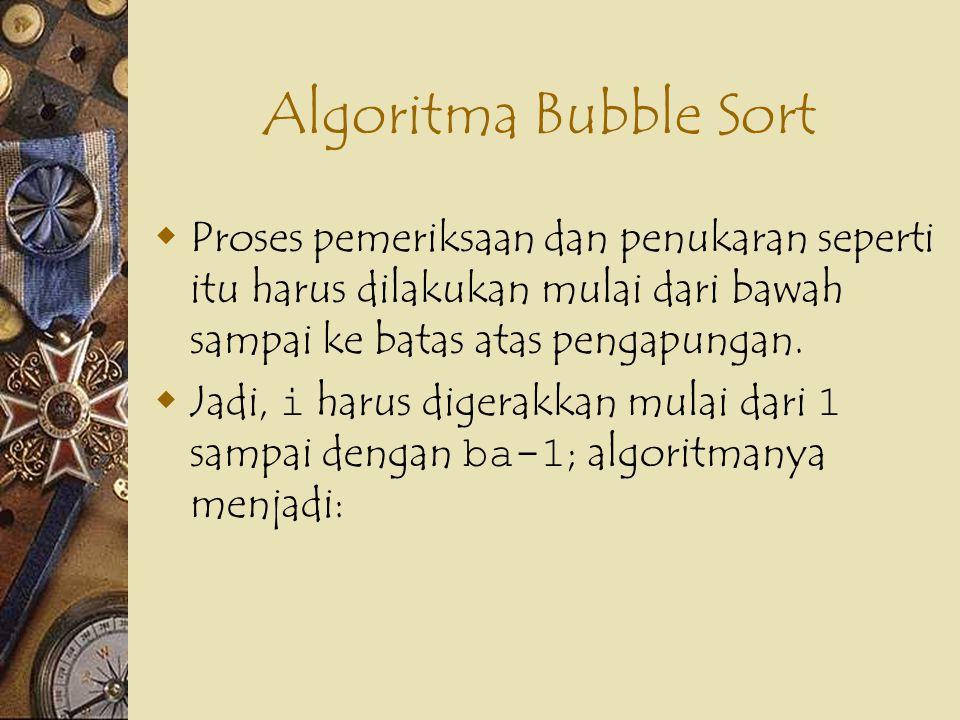 Algoritma Bubble Sort Proses pemeriksaan dan penukaran seperti itu harus dilakukan mulai dari bawah sampai ke batas atas pengapungan.