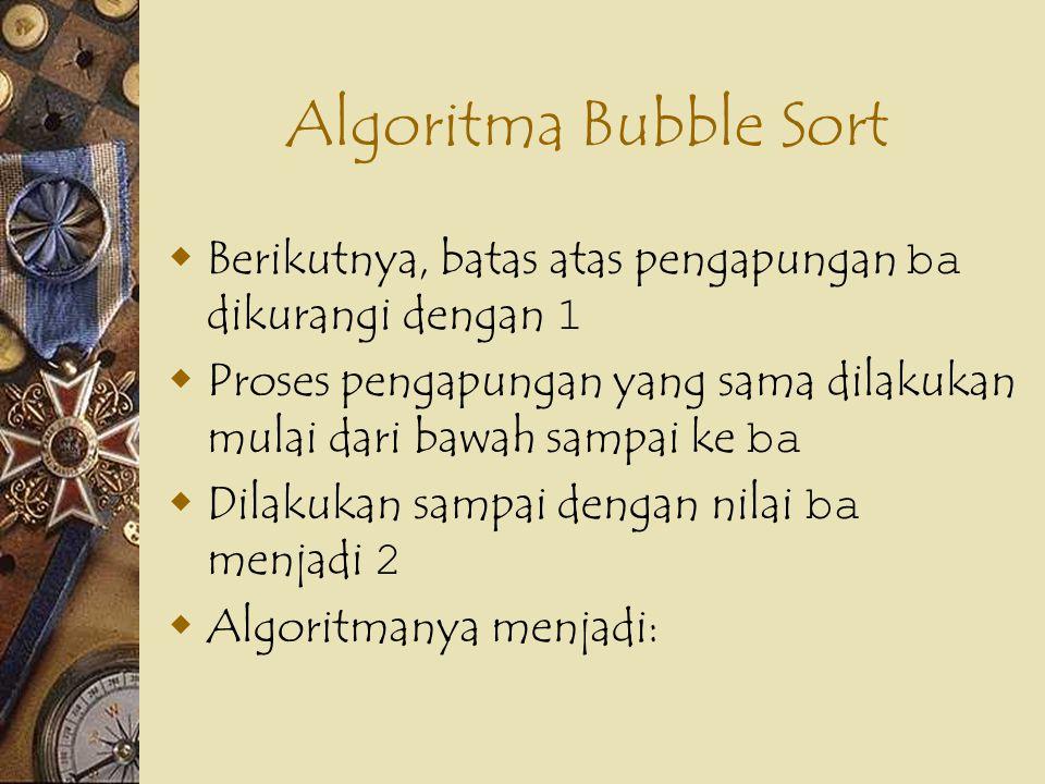 Algoritma Bubble Sort Berikutnya, batas atas pengapungan ba dikurangi dengan 1. Proses pengapungan yang sama dilakukan mulai dari bawah sampai ke ba.