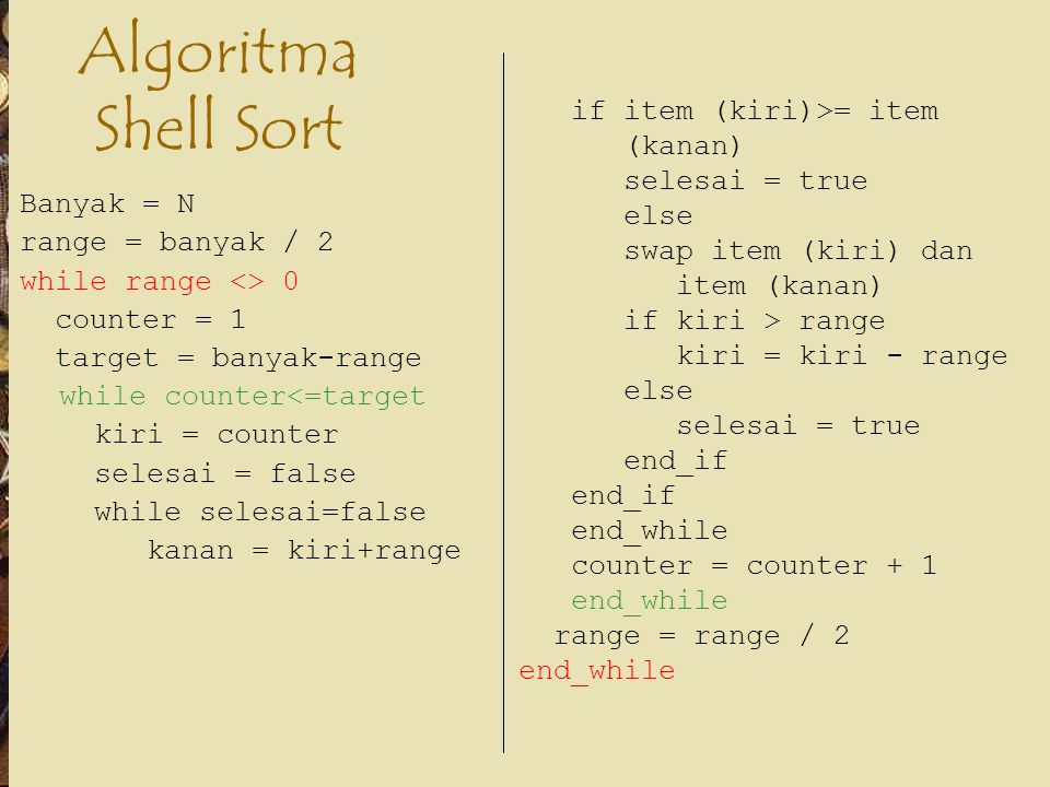 Algoritma Shell Sort if item (kiri)>= item (kanan) selesai = true