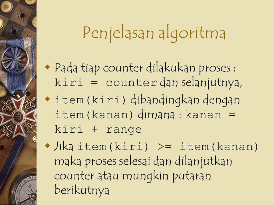 Penjelasan algoritma Pada tiap counter dilakukan proses : kiri = counter dan selanjutnya,