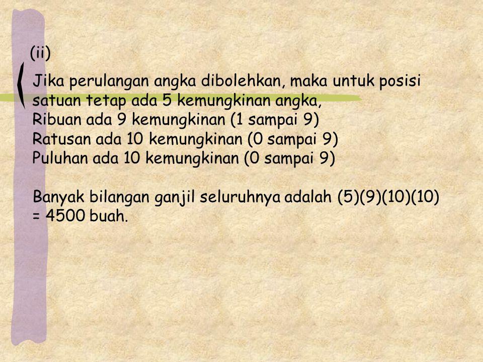 (ii) Jika perulangan angka dibolehkan, maka untuk posisi. satuan tetap ada 5 kemungkinan angka, Ribuan ada 9 kemungkinan (1 sampai 9)
