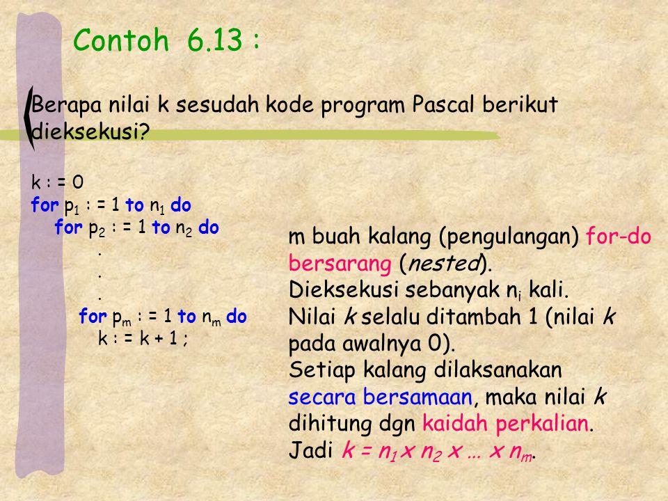 Contoh 6.13 : Berapa nilai k sesudah kode program Pascal berikut