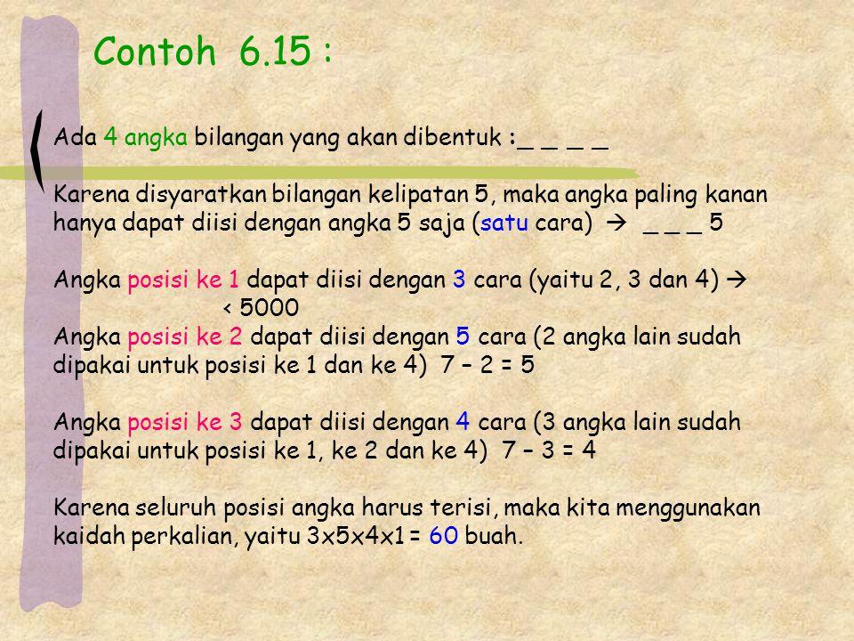 Contoh 6.15 : Ada 4 angka bilangan yang akan dibentuk :_ _ _ _