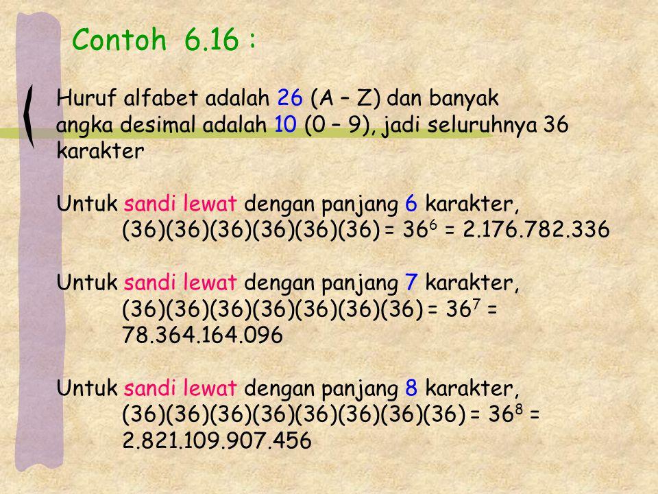 Contoh 6.16 : Huruf alfabet adalah 26 (A – Z) dan banyak
