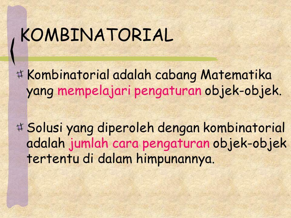 KOMBINATORIAL Kombinatorial adalah cabang Matematika yang mempelajari pengaturan objek-objek.
