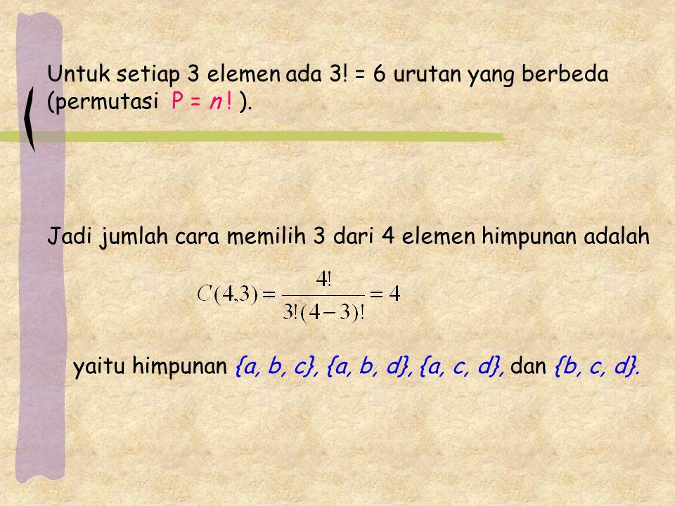 Untuk setiap 3 elemen ada 3! = 6 urutan yang berbeda