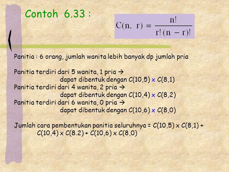 Contoh 6.33 : Panitia : 6 orang, jumlah wanita lebih banyak dp jumlah pria. Panitia terdiri dari 5 wanita, 1 pria 