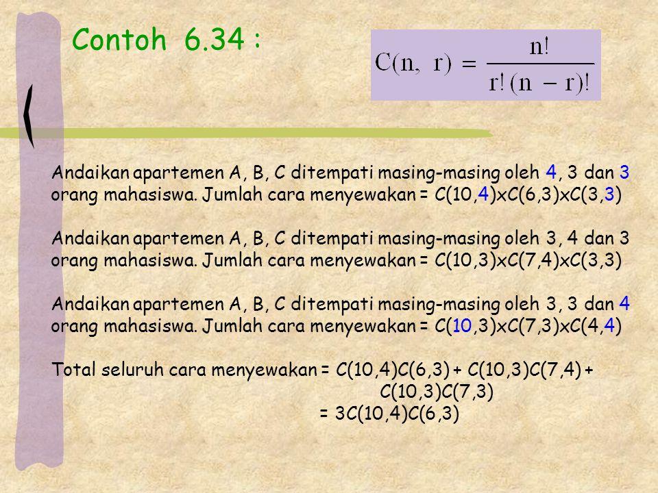 Contoh 6.34 : Andaikan apartemen A, B, C ditempati masing-masing oleh 4, 3 dan 3. orang mahasiswa. Jumlah cara menyewakan = C(10,4)xC(6,3)xC(3,3)