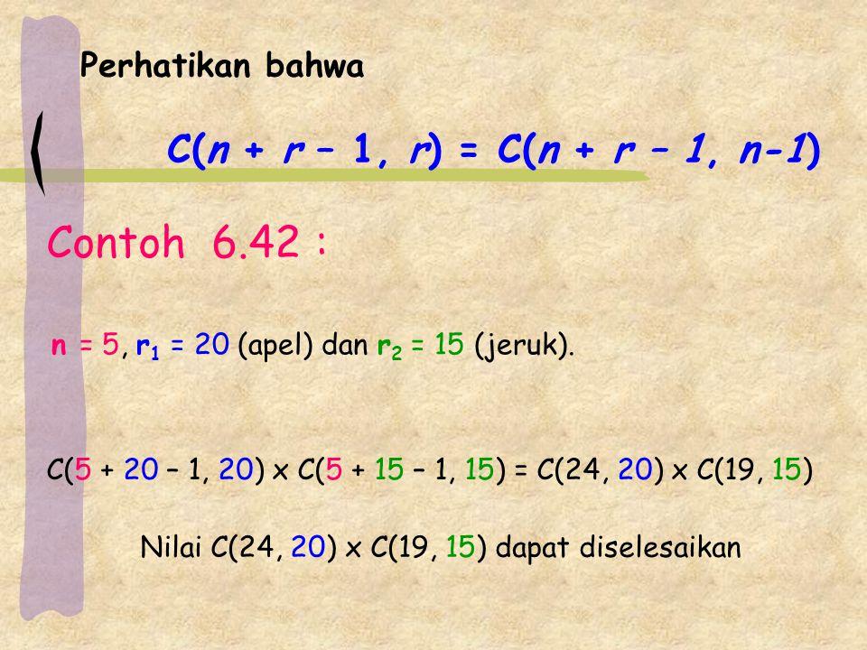 Contoh 6.42 : Perhatikan bahwa C(n + r – 1, r) = C(n + r – 1, n-1)