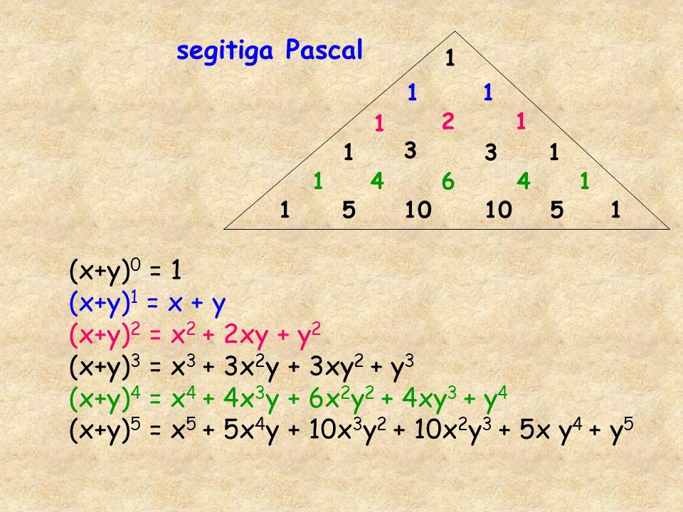 (x+y)5 = x5 + 5x4y + 10x3y2 + 10x2y3 + 5x y4 + y5