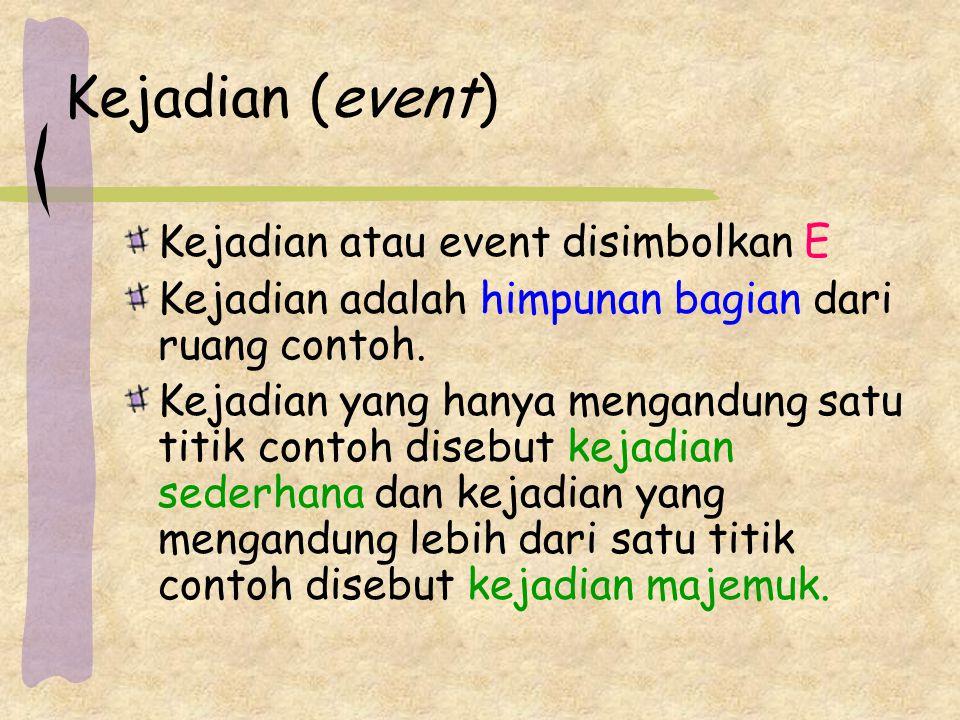 Kejadian (event) Kejadian atau event disimbolkan E