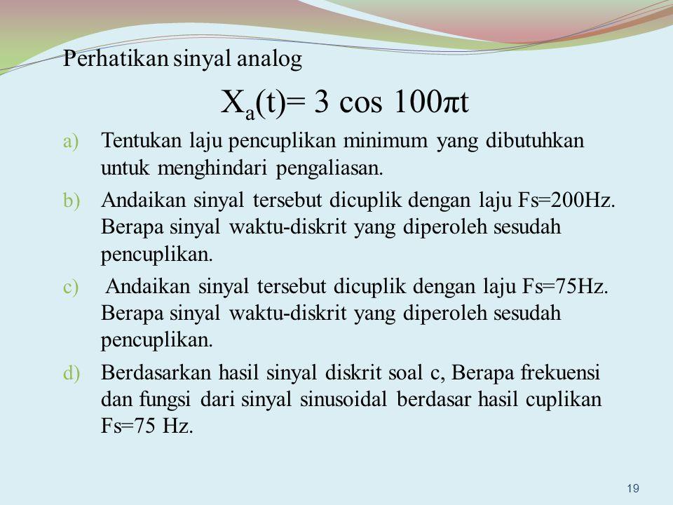 Xa(t)= 3 cos 100πt Perhatikan sinyal analog