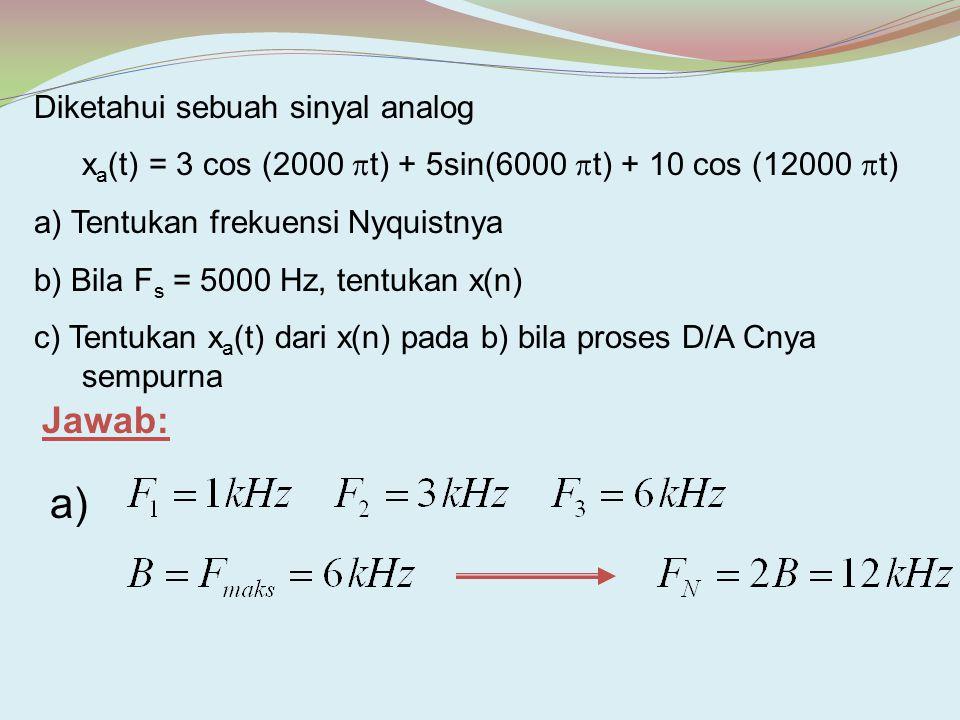 a) Jawab: Diketahui sebuah sinyal analog